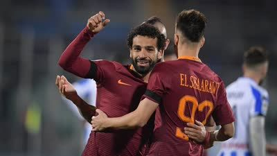 Rome shuangxiang Serie A - Salah 4-1 sent Pescara ahead of the five round.