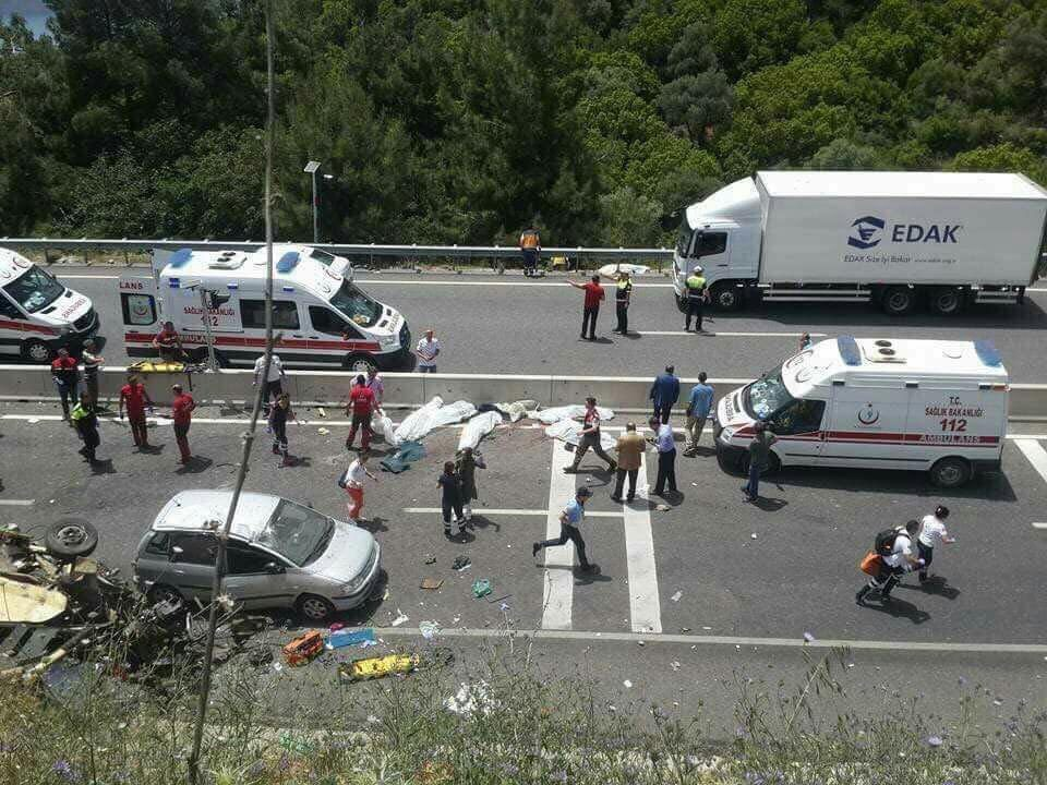 A tourist bus crashed into cliff in Turkey, killing 20 people