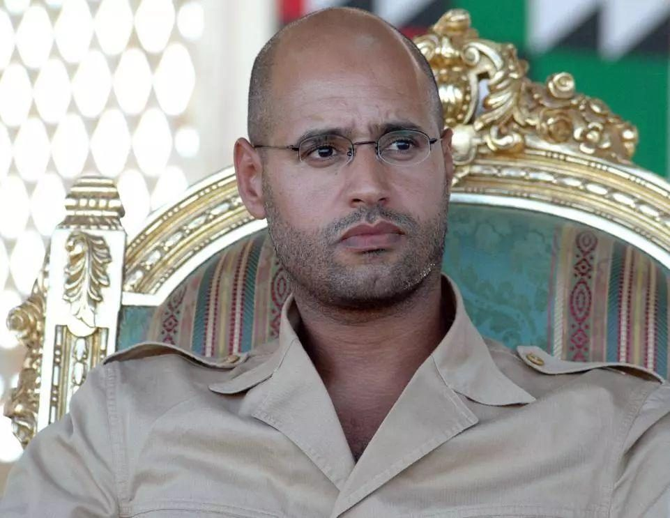 Is the son of Al-qaddafi announcing the election of the president to save the Libya mess?