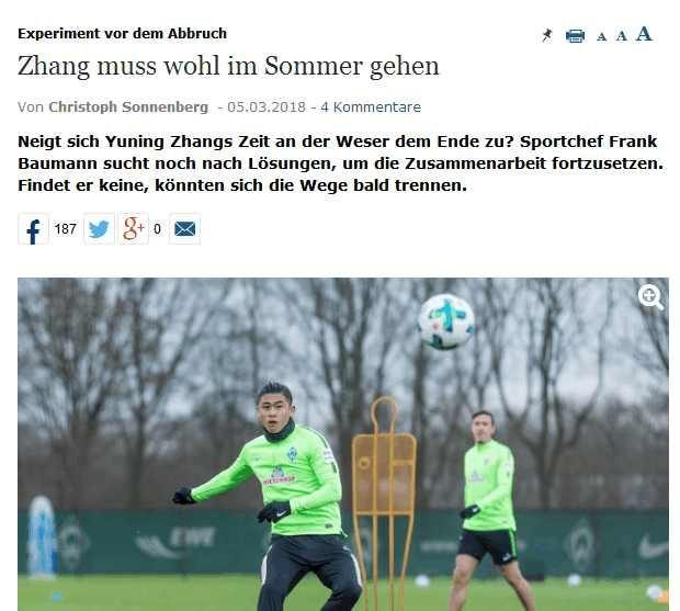 I have a season! Zhang Yuning wants to leave Bremen ahead of schedule and look for new opportunities!