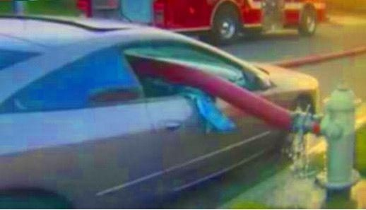 "The man was parked in violation of the rules, and the car was worn by a ""red snake"" and the glass broke up."