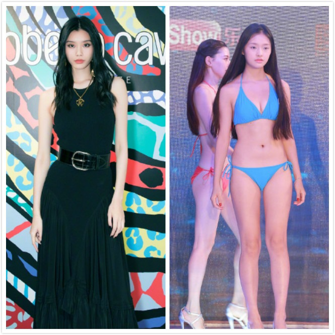 "The skinny phase of Mengmeng Yao is a platform for a brand in Hong Kong. The new model is said by the netizen to ""crash the face"" Lin Yun."
