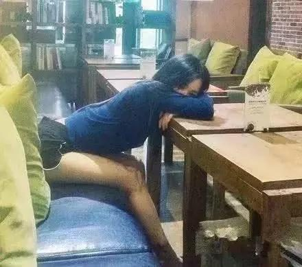 Funny GIF: I fell asleep on the table and didn't order anything.