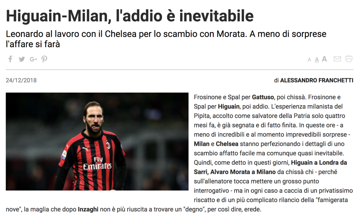 Are you leaving?  Italian media: Higuain and Morata winter window exchange host