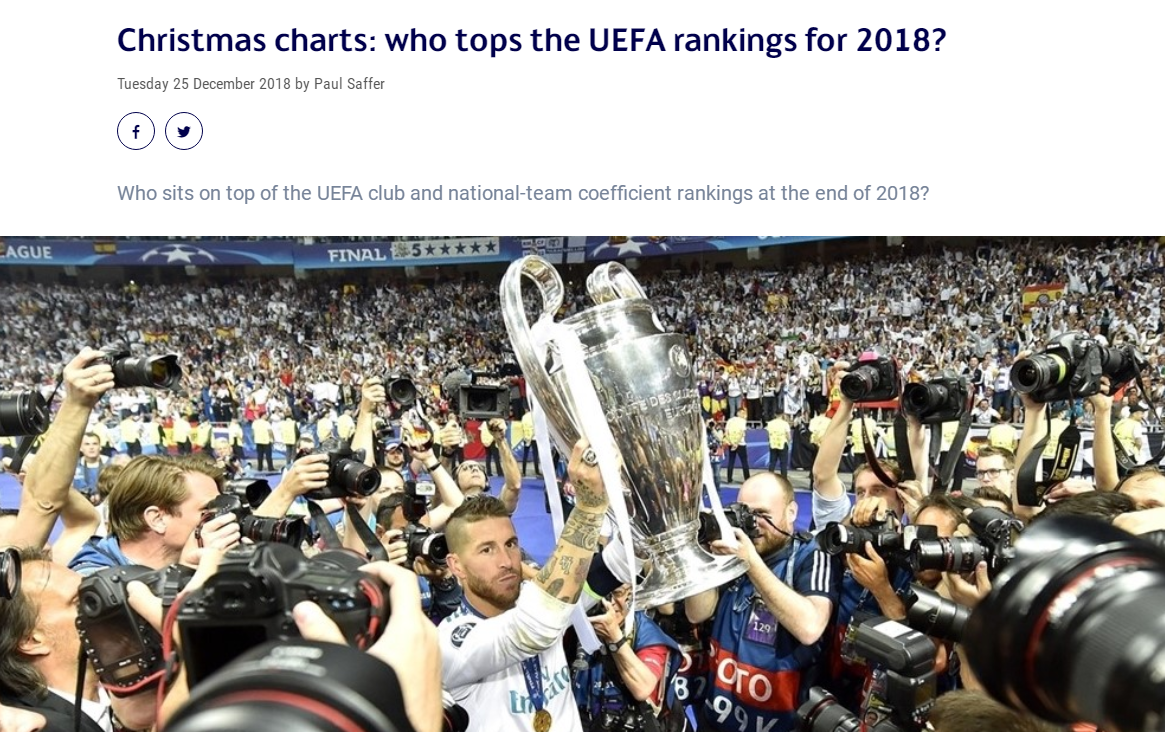 UEFA's latest club ranking: Real Madrid first Bayern second place Manchester United missed the top ten