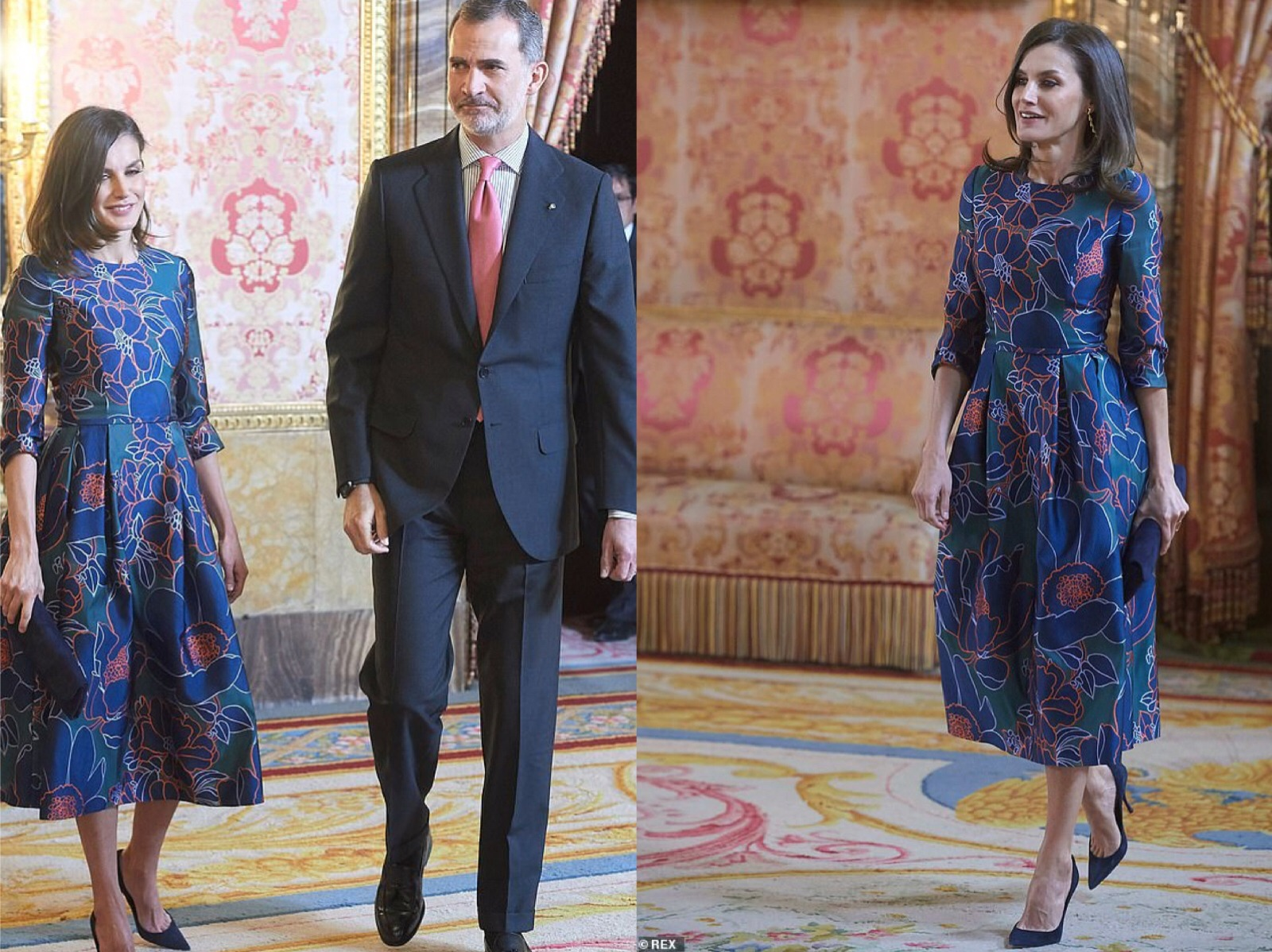 The Queen of Spain has changed her spring clothes. Big flower pattern flower bud skirt witty and high-level, unique temperament
