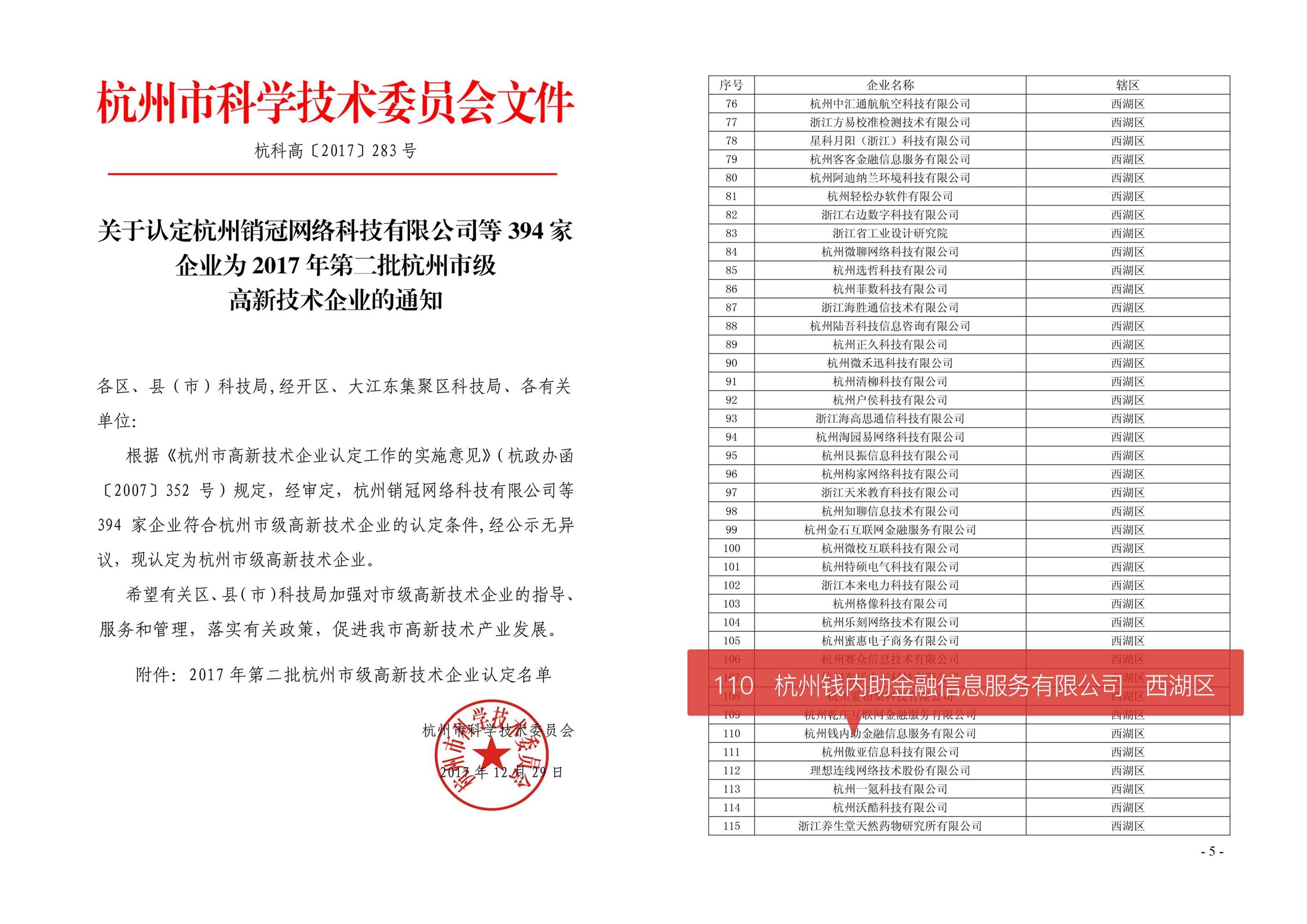 钱内助获批杭州市级高新技术企业