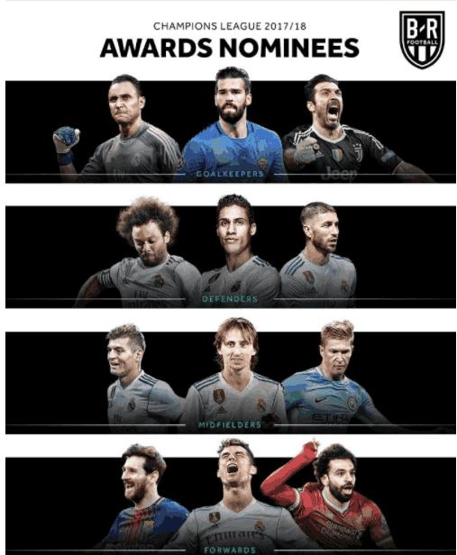 上赛季欧冠各位置最佳候选, 仅两位置最佳