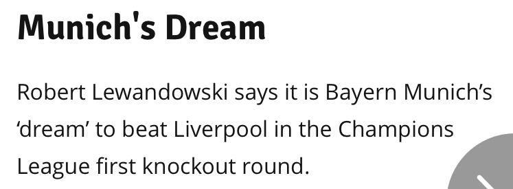 莱万:欧冠要看赛前一周状态,梦想战胜利物浦