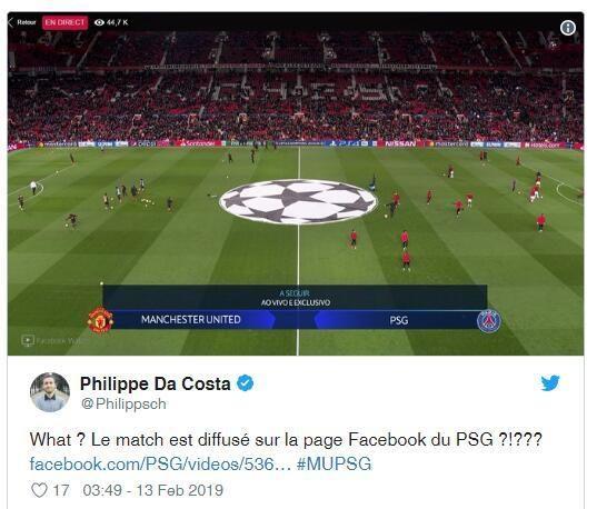巴黎脸书盗播欧冠战曼联,全球粉