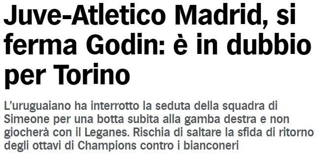 戈丁训练中右脚受伤,可能缺席欧冠对尤文