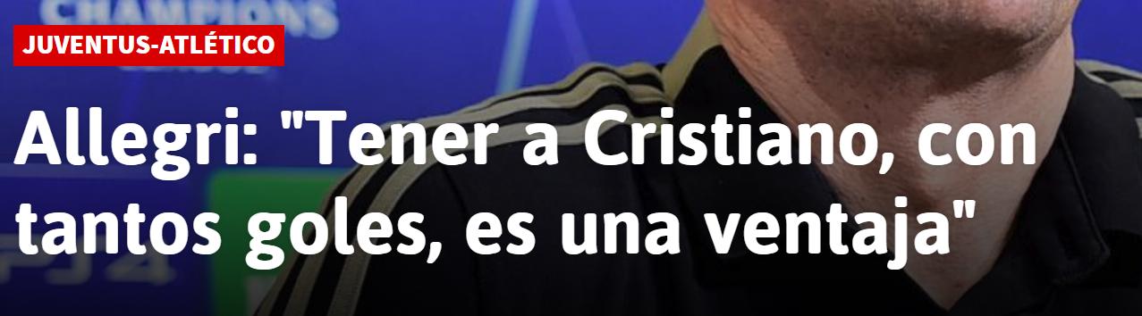 阿莱格里:C罗在欧冠中进球无数,拥有他就