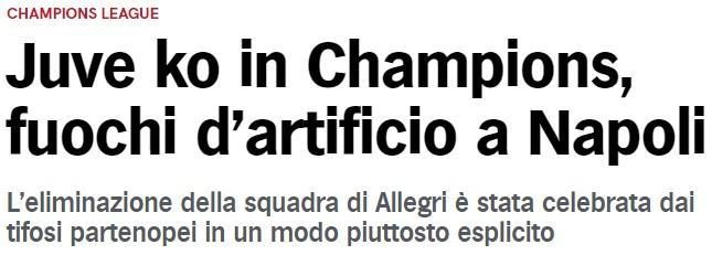 尤文欧冠出局后 那不勒斯球迷放烟花庆祝