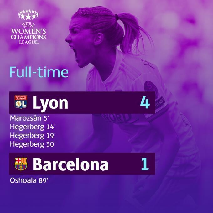 巴萨副主席谈女足欧冠决赛失利:里昂女足没