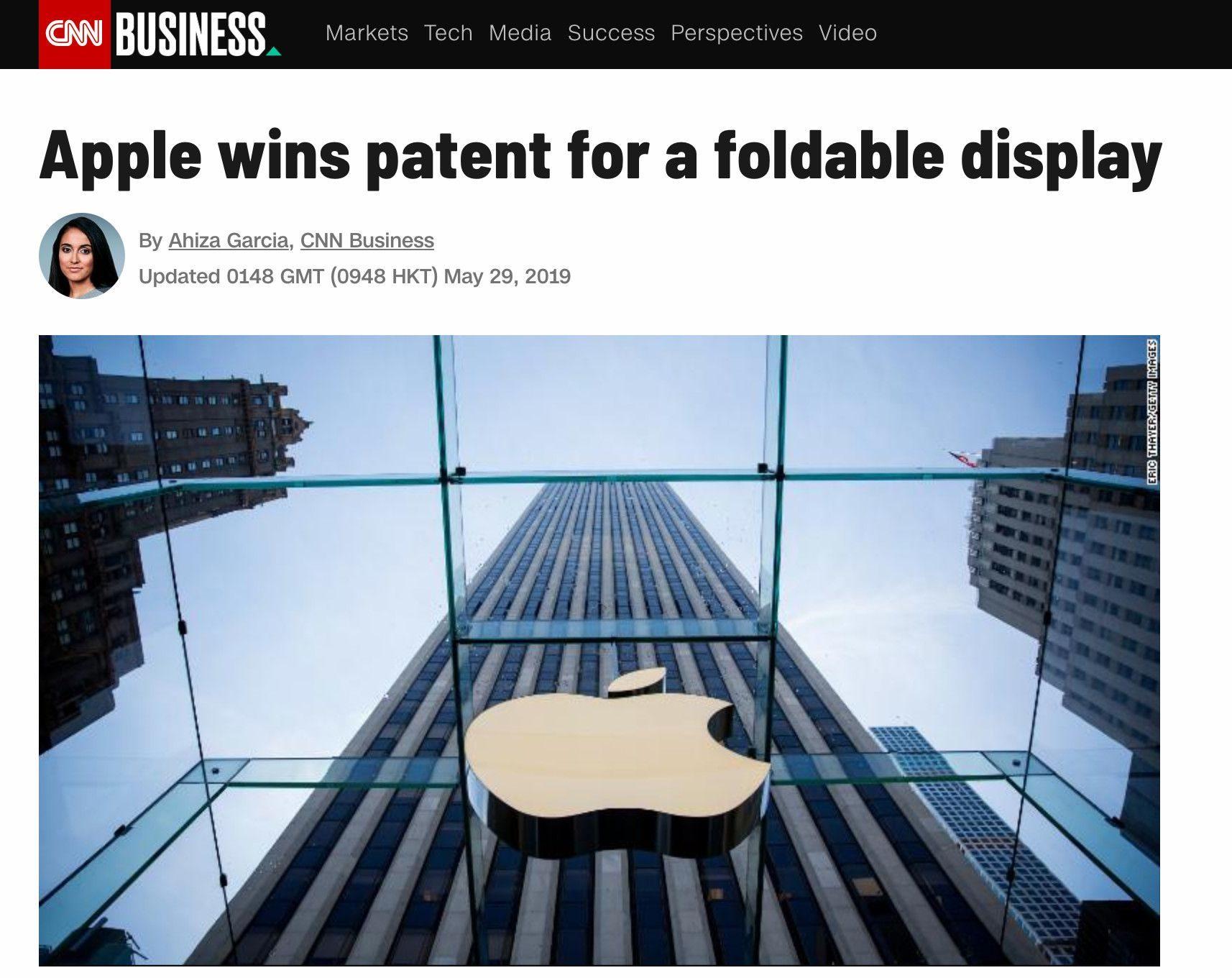 苹果获得可折叠屏幕专利可用于iPhone;三星Note 10相机细节曝光