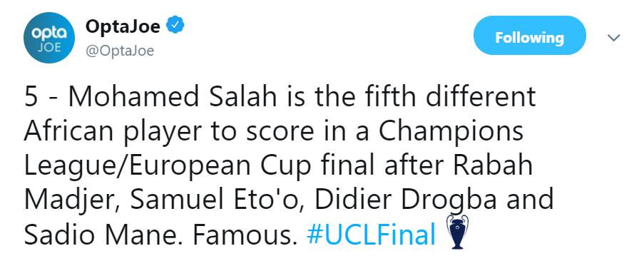 萨拉赫成第一位欧冠决赛进球的埃及人,非洲