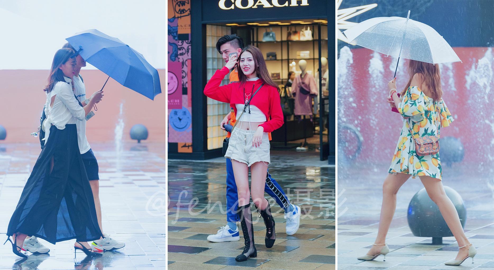 街拍:三里屯美女不寻常,偶遇暴雨依然镇静,时尚之气丝毫不减