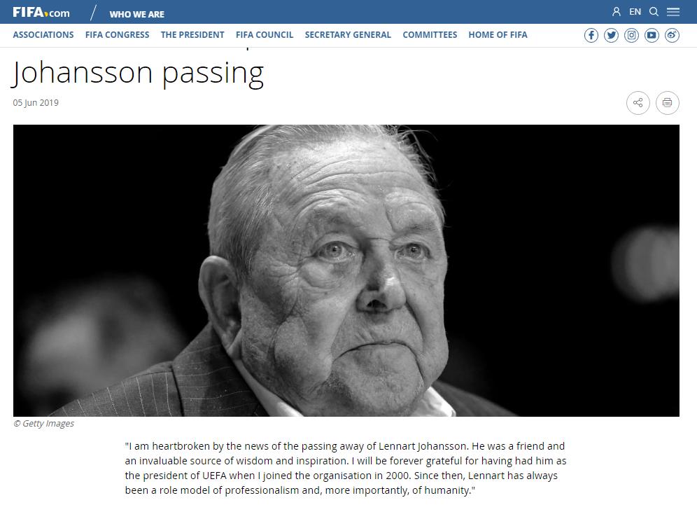 前欧足联主席约翰松去世 曾推动欧冠和欧洲