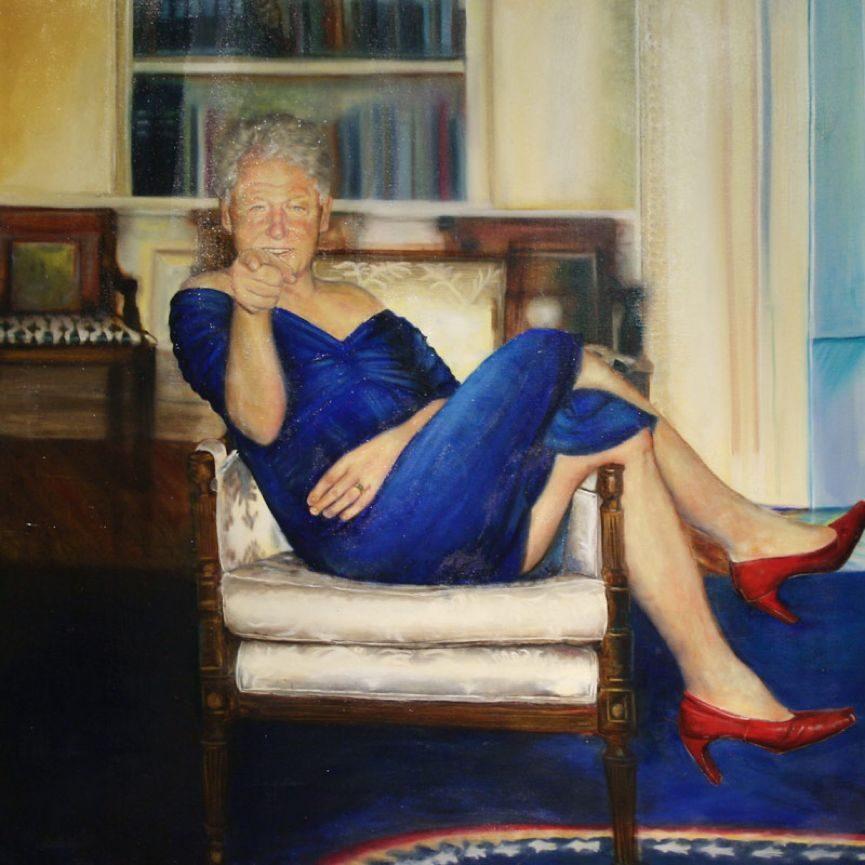 爱泼斯坦死亡之谜背后的女画家:让克林顿穿上女装,让小布什玩上积木 |【经纬低调艺术】
