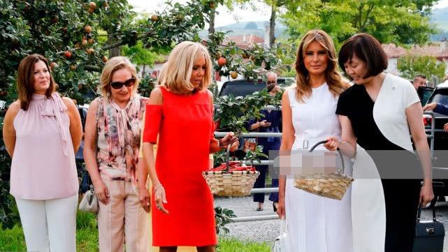 G7峰会太太团出行美成画!布丽吉特红裙太惹眼,安倍昭惠美得动人