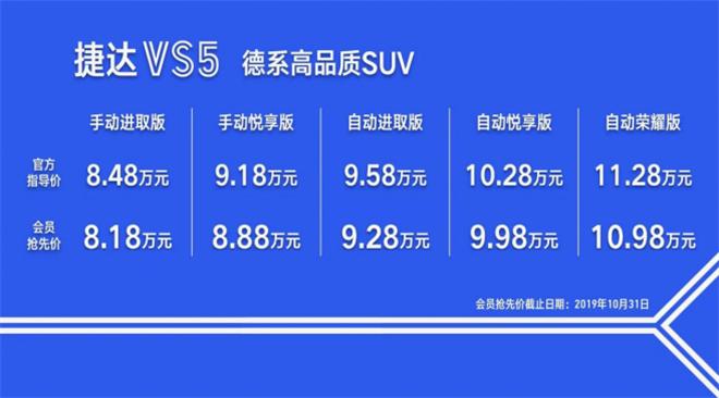 新国民神车捷达VS5上市 售8.48-11.28万元