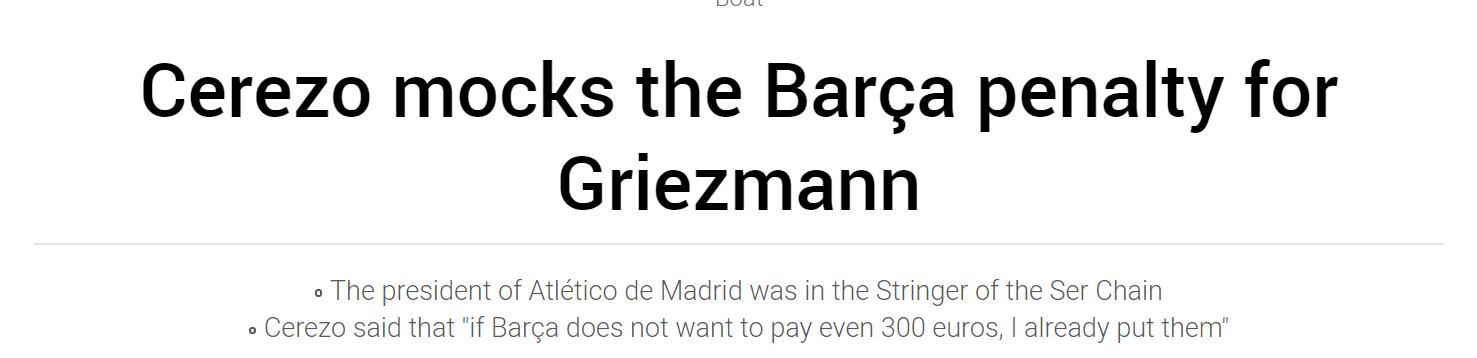 马竞主席讽刺巴萨:不想给300欧罚金?我帮你出