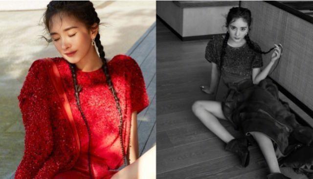 杨幂杂志造型多变,驾驭多风格红裙,鱼骨辫羽毛裙演绎清纯性感风