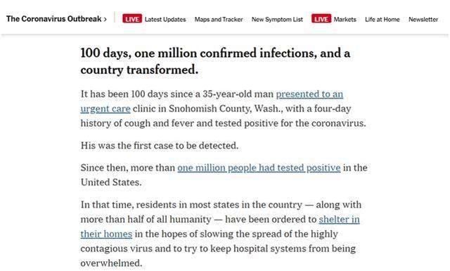 Coronavirus Update: 1 million cases of infection in the United States in 100 days