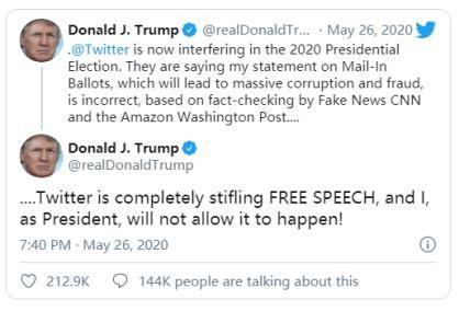 """""""戰火""""升級,特朗普簽署行政令,限制社交媒體免責條款"""