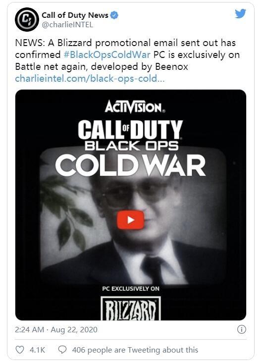官方確認《使命召喚︰黑色行動冷戰》PC 版為暴雪戰網獨佔