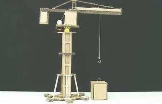 利用廢棄的硬紙板制作一臺自動吊機工程車