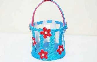 塑料瓶手工制作可愛小花籃