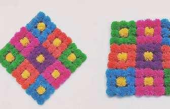 用毛線制作漂亮可愛的泡泡球地毯