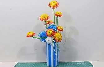 一次性吸管手工制作漂亮花瓶