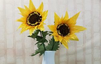教你用皺紋紙制作向日葵