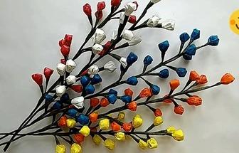 廢塑料袋制作新年彩葉銀柳裝飾花枝