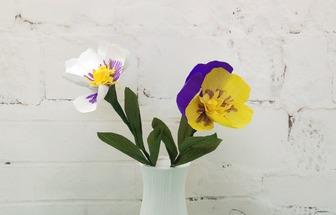 用皺紋紙制作簡單三色堇花