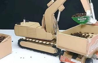 手工達人教你用紙板制作一臺挖掘機