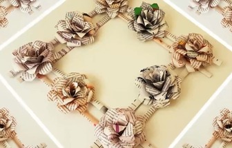 廢報紙制作玫瑰花畫框裝飾畫