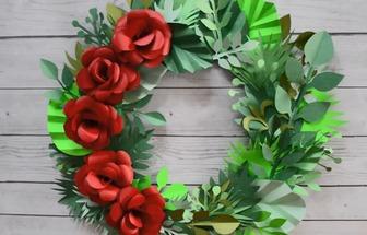 廢紙板DIY圣誕節漂亮彩紙花圈