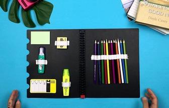 如何改造用書夾DIY收納文具