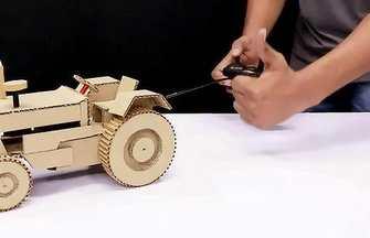 紙板DIY一輛電動遙控拖拉機模型