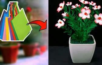 購物袋創意改造好看的花藝盆栽