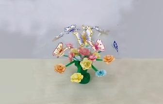 汽水瓶簡單改造做漂亮的蝴蝶花藝