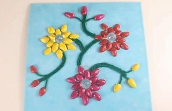 開心果殼手工制作兒童花朵裝飾畫