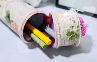 塑料瓶動手自制漂亮的筆筒收納盒