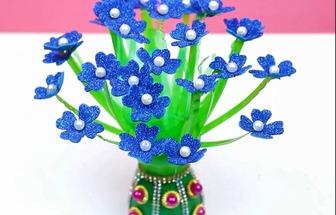廢塑料瓶制作漂亮彩紙花藝裝飾盆栽擺件