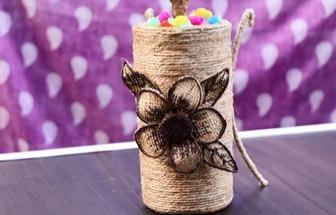 教你用麻繩和塑料瓶DIY一個漂亮的亞麻花瓶