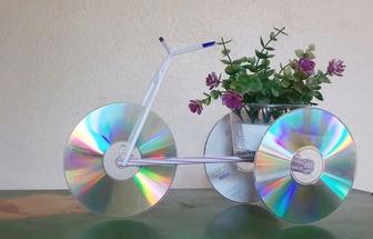動手做一個漂亮的光碟三輪車花籃