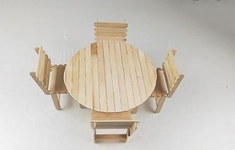 冰棍棒DIY一家四口圓桌椅子